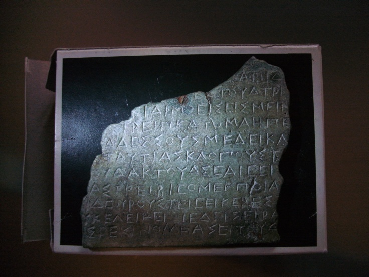 A fragment of an Oscan law code, c. 300 BC